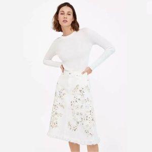 ZARA Premium Denim Embroidered Western Skirt NWT L